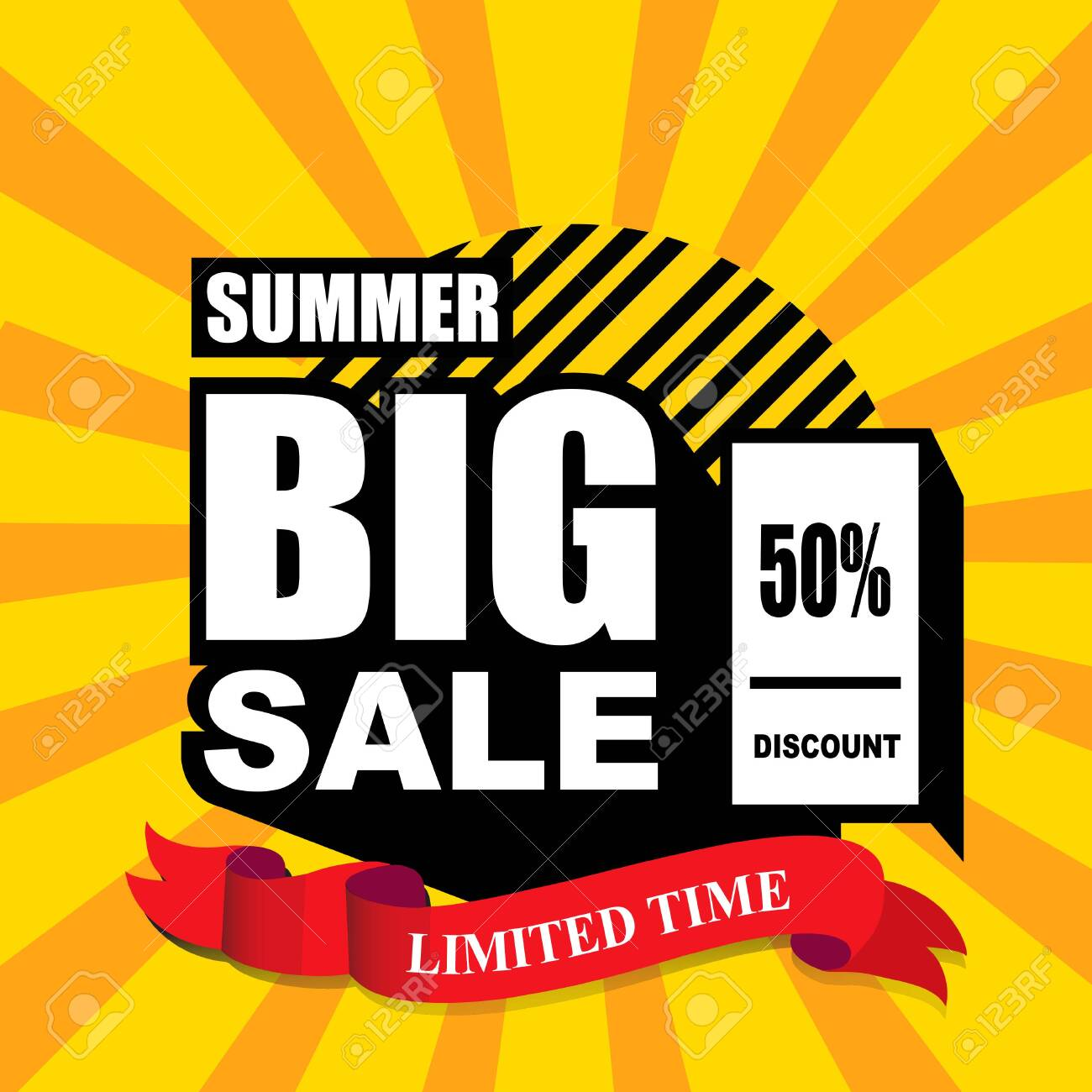 Summer Big Sale banner template design, limited time, 50 discount. end of season special offer banner. - 128645324