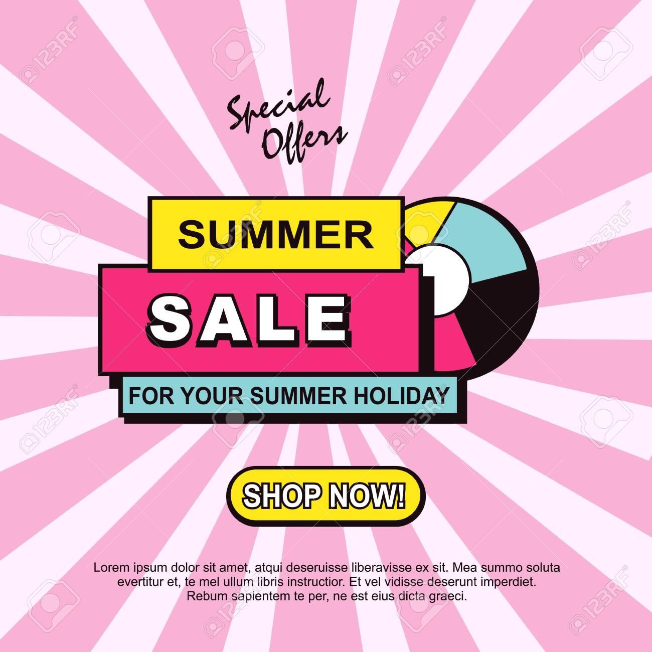 Summer sale discounts banner template design. Sale ads, badge, promotion, promo, card, poster, flyer. - 129101300