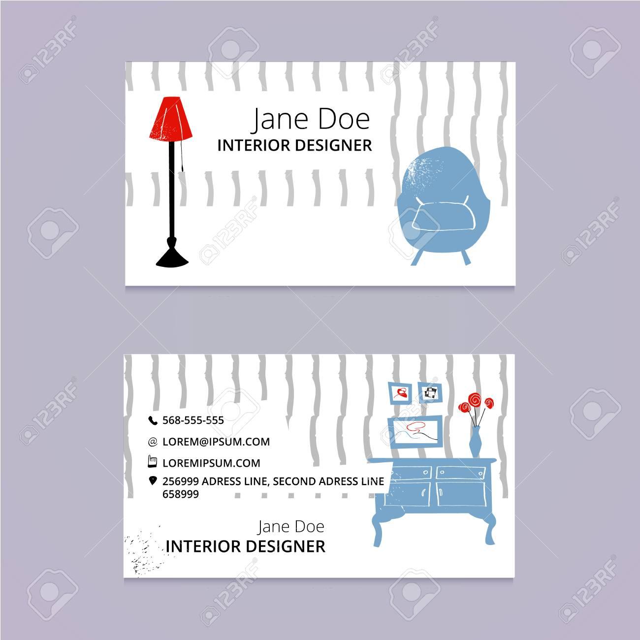 interior design business card template sketch ink illustration