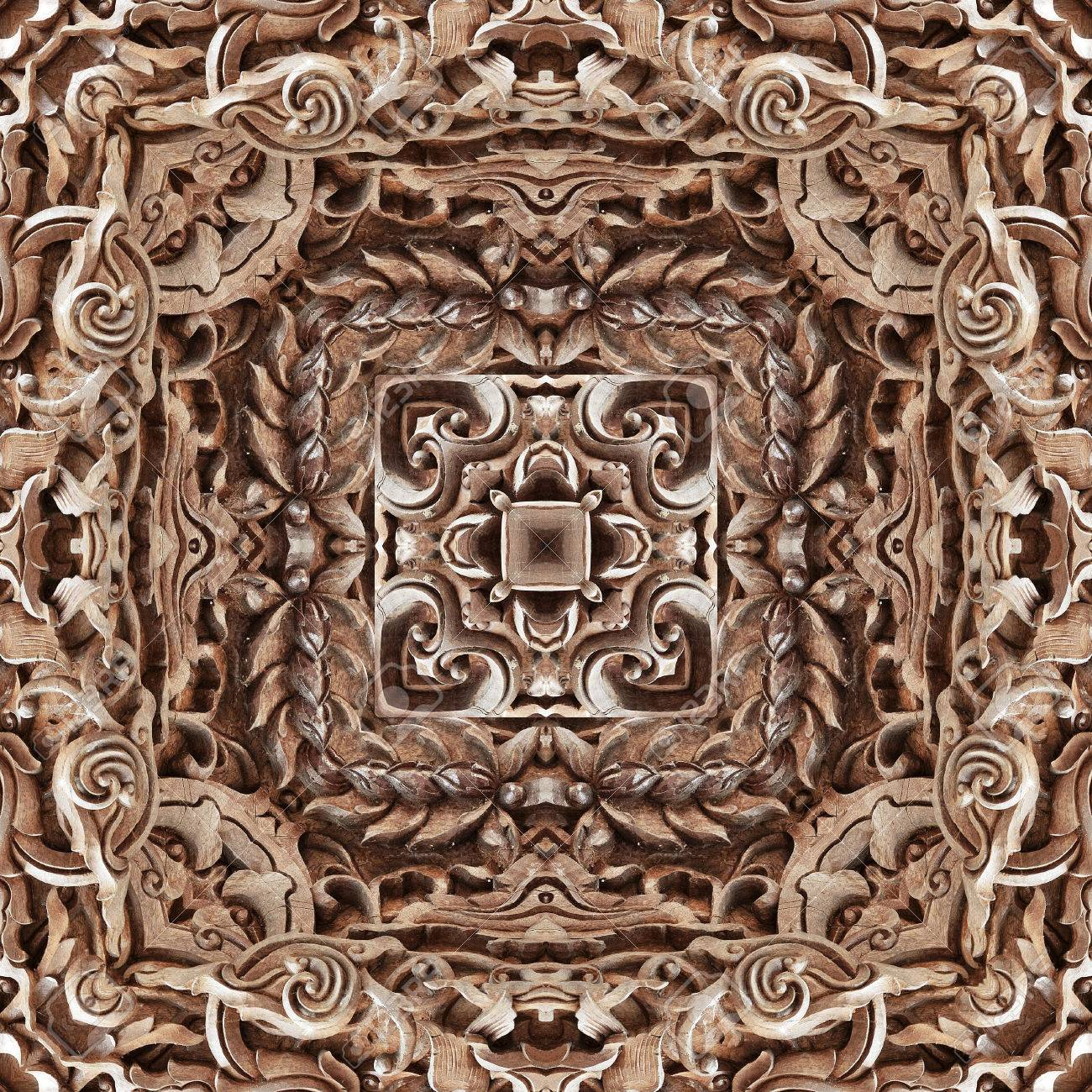 Carved wooden ornament seamless pattern texture stock photo
