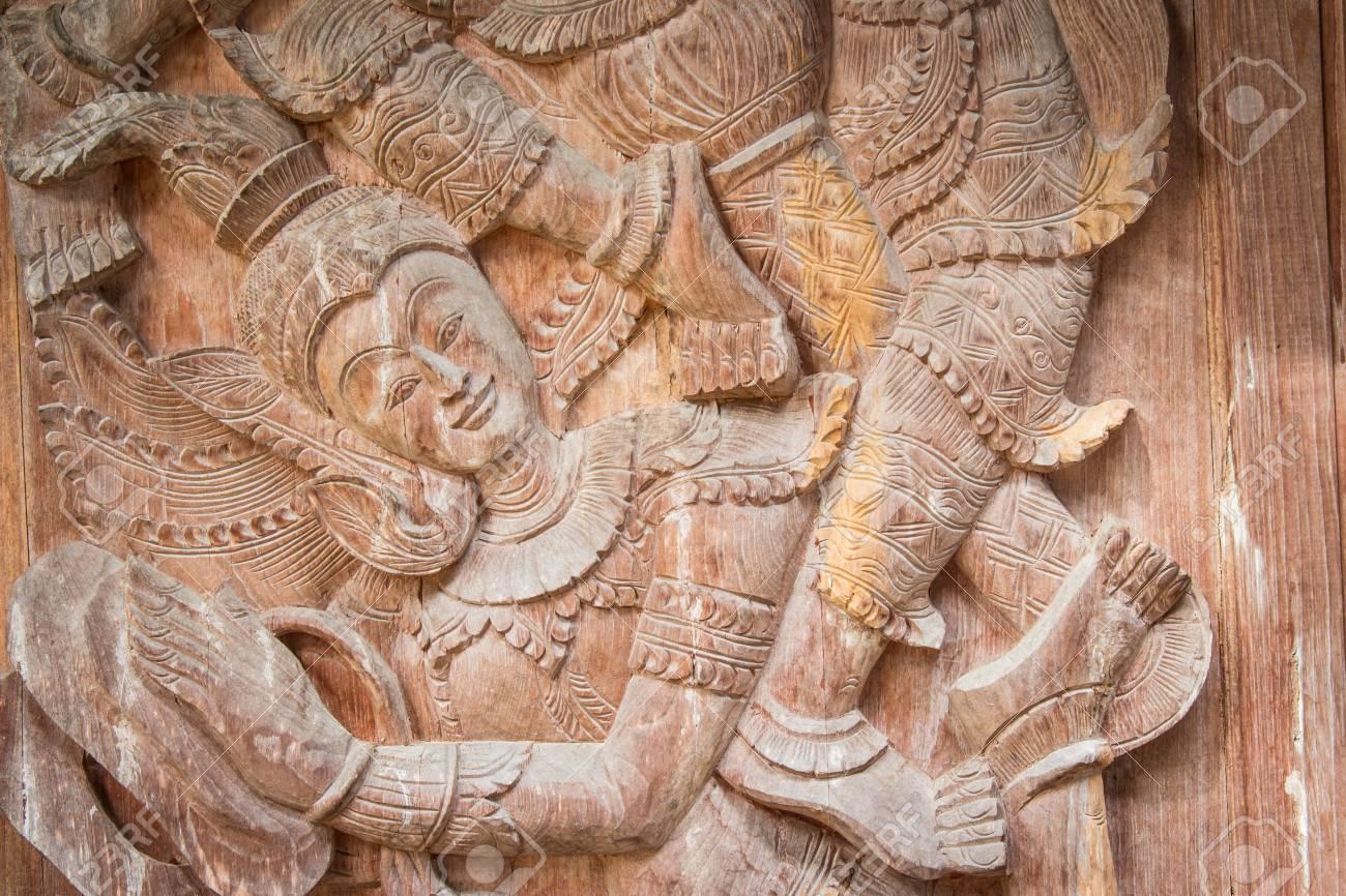 Wood thai pattern handmade wood carvings chiang rai thailand