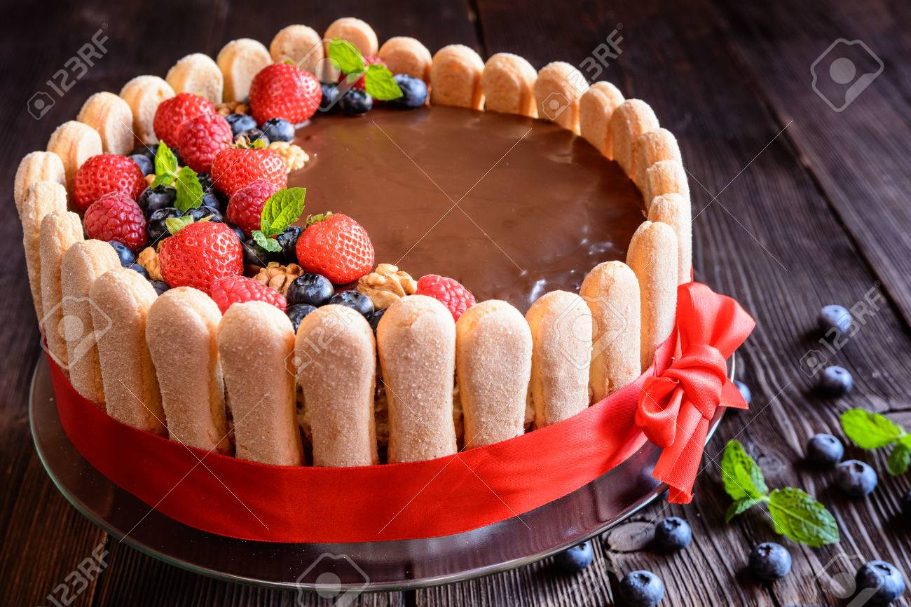 Delicious Birthday Cake With Walnuts Filling And Strawberries