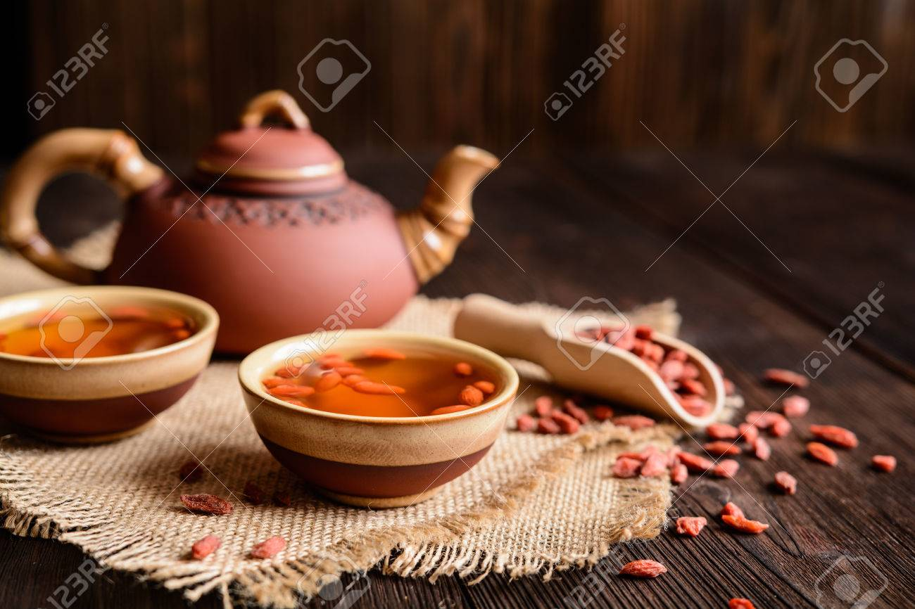 A Cup Of Antioxidant Goji Berries Tea Stock Photo Picture And