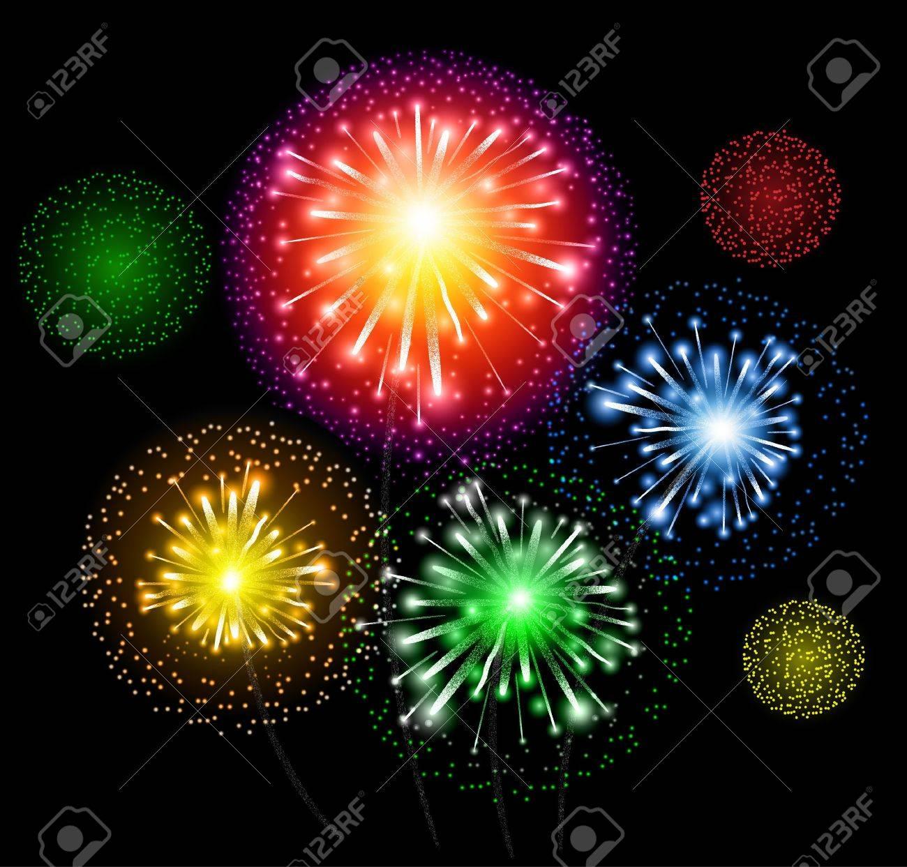 Fuegos Artificiales Vector Explosion De Colores De Fondo