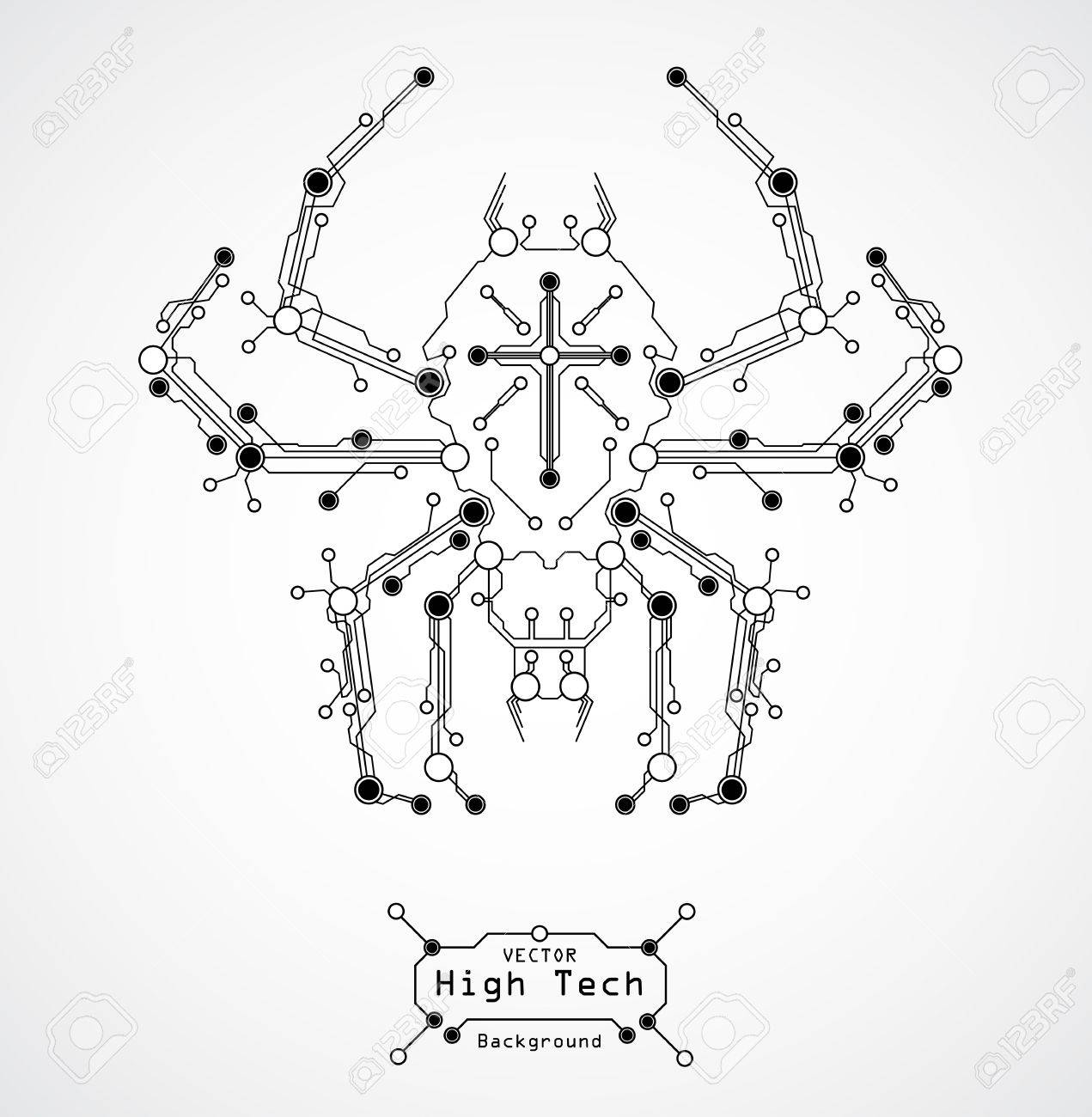 Circuit Board Spider HIGH TECHbackground Royalty Free Cliparts ...