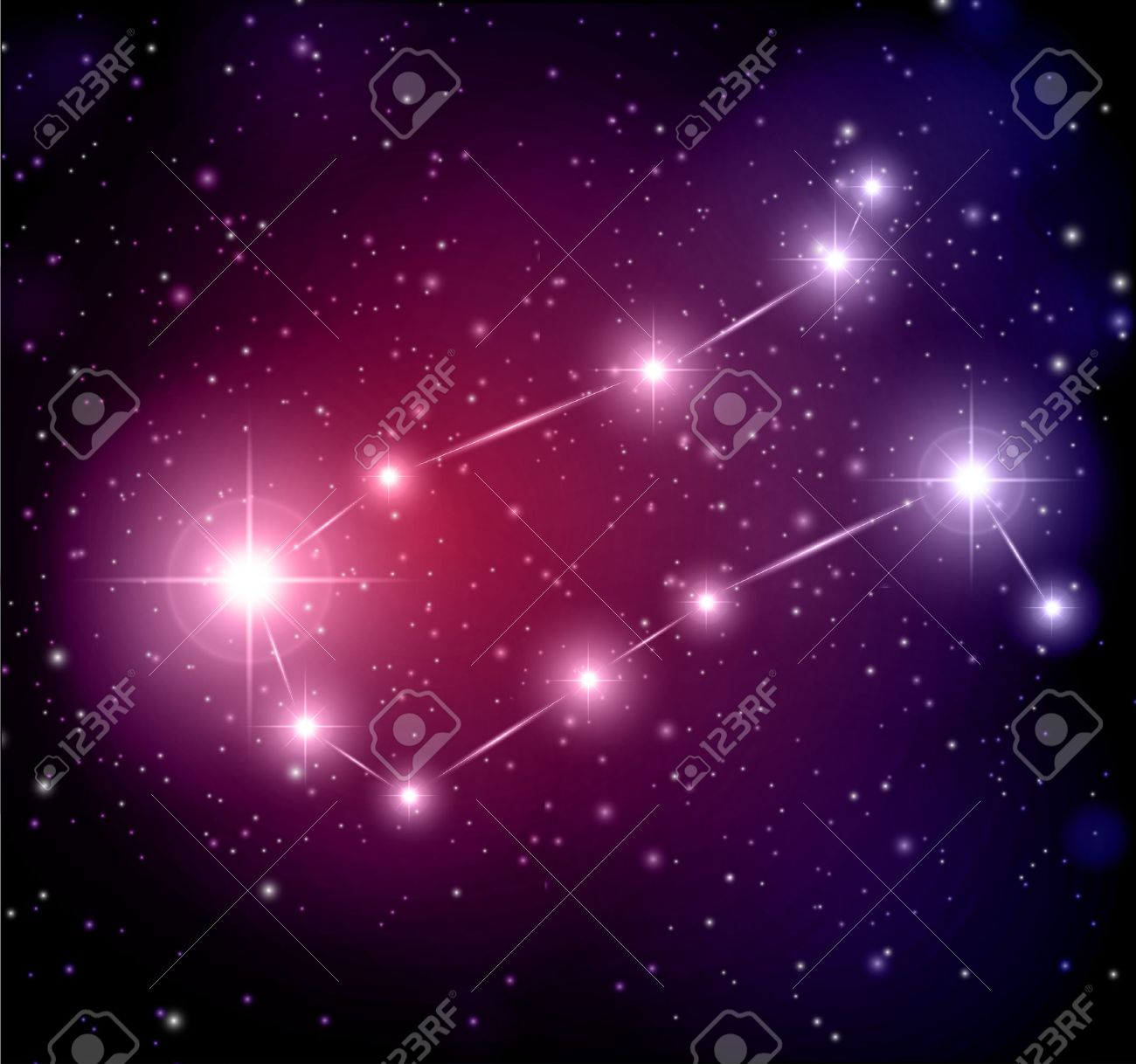 abstract space background with stars and Gemini constellation Stock Vector - 14305676