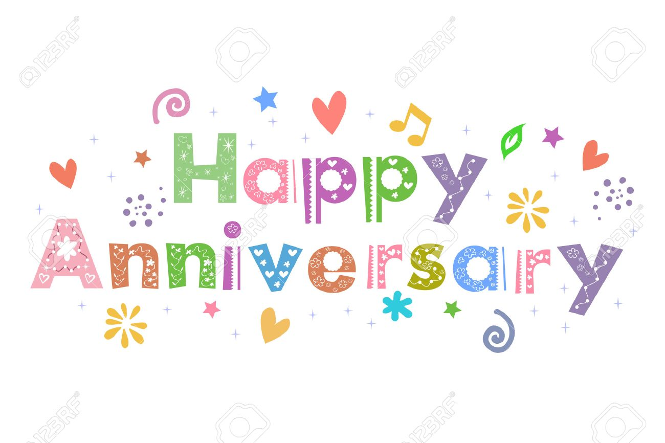 Happy Anniversary Message For Card Design Royalty Free Cliparts