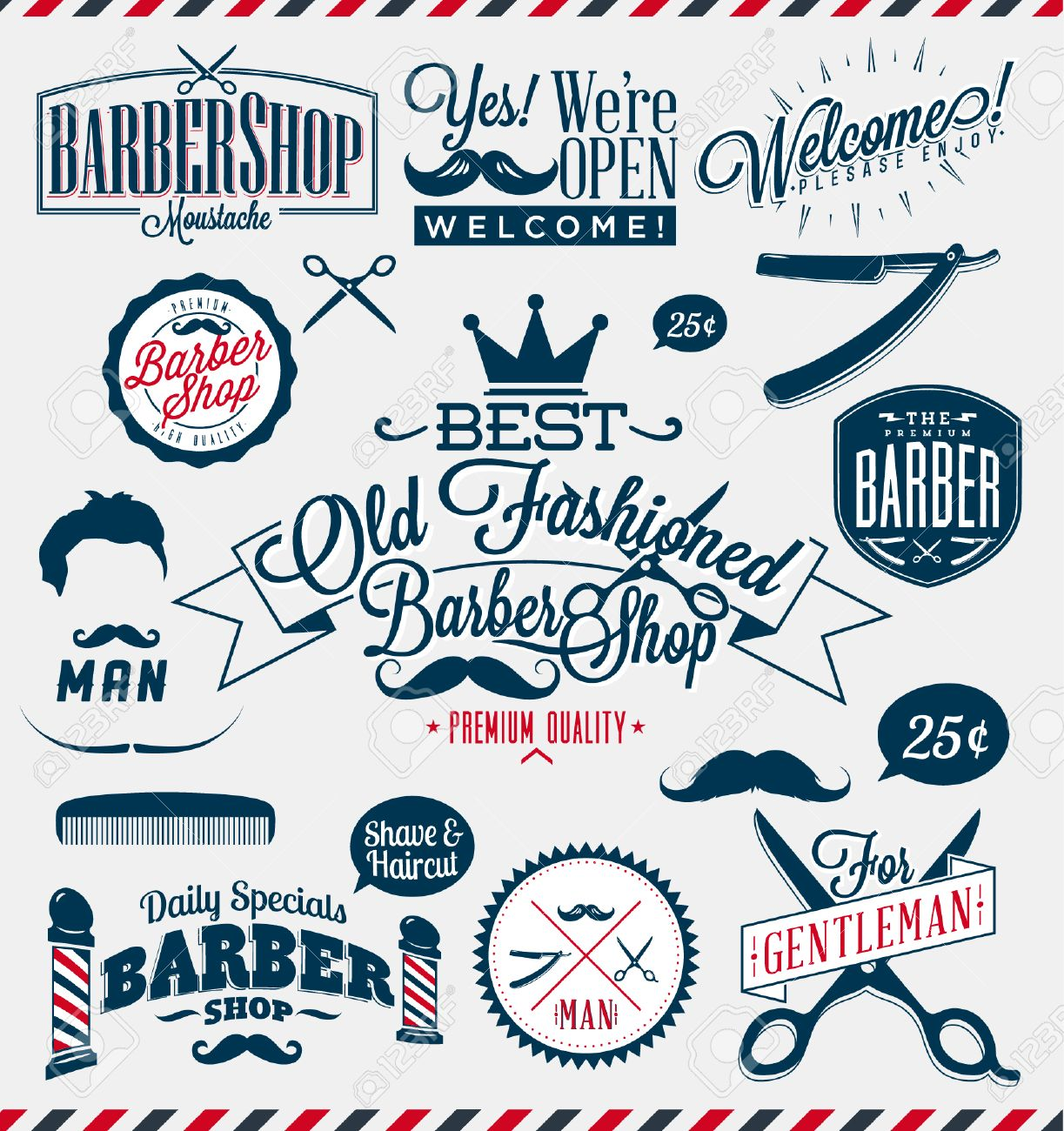 Antique barber shop signs - Set Of Vintage Barber Shop Logo Graphics And Icons Stock Vector 31051276