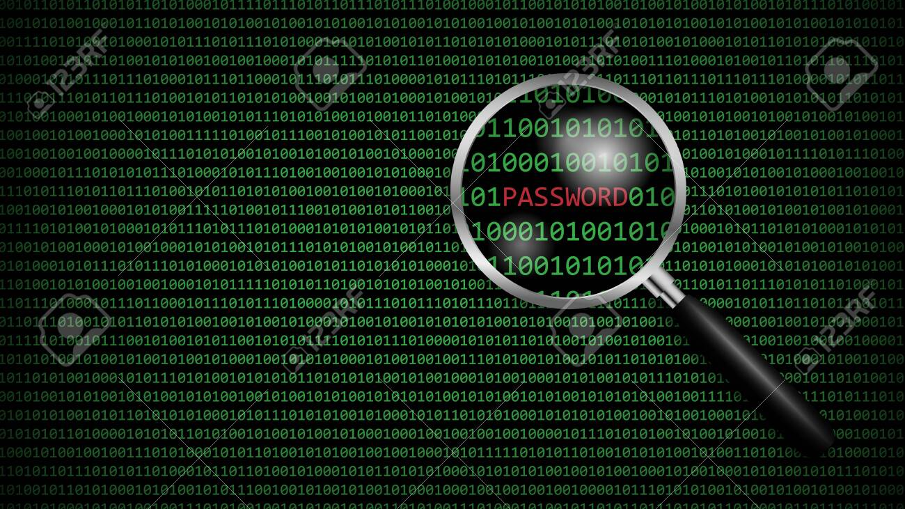 Password under magnifying glass with digital computer code, cyber technology security, network protection background design, vector illustration - 148304409