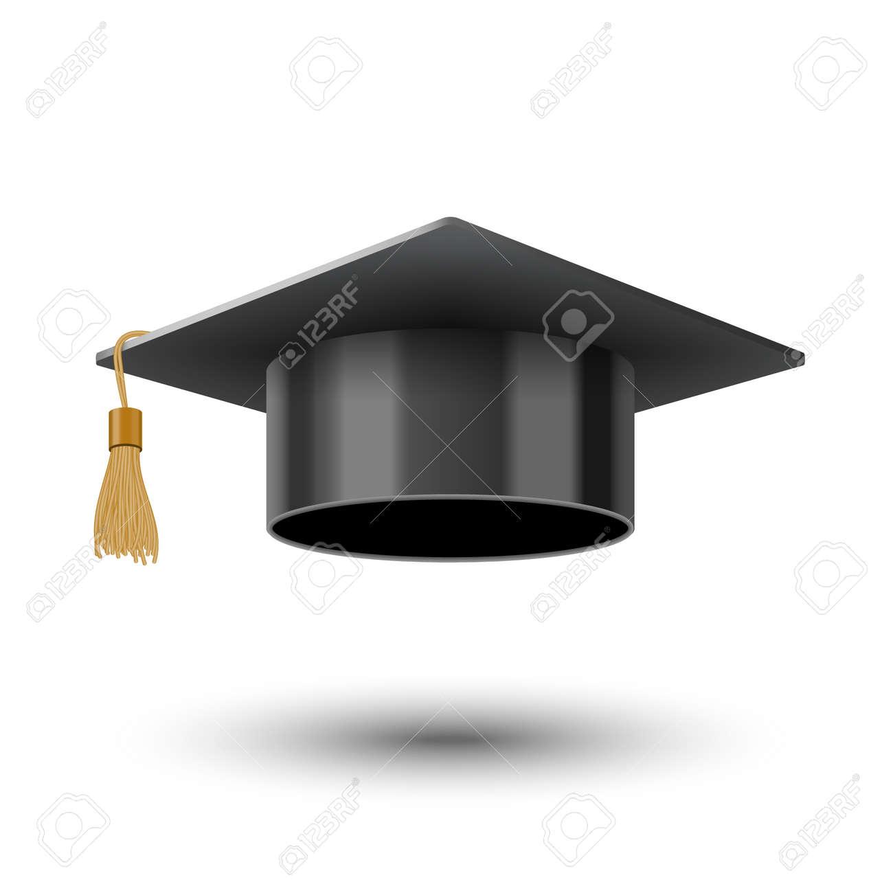 Realistic graduate university or college black cap, vector illustration - 155626471