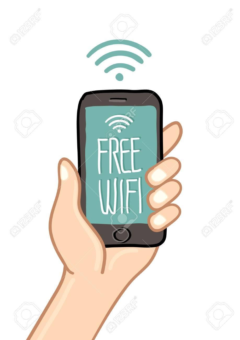 Dessin Avec La Main une main tenant un téléphone mobile avec wi fi signe - dessin à main levée  vecteur illustration