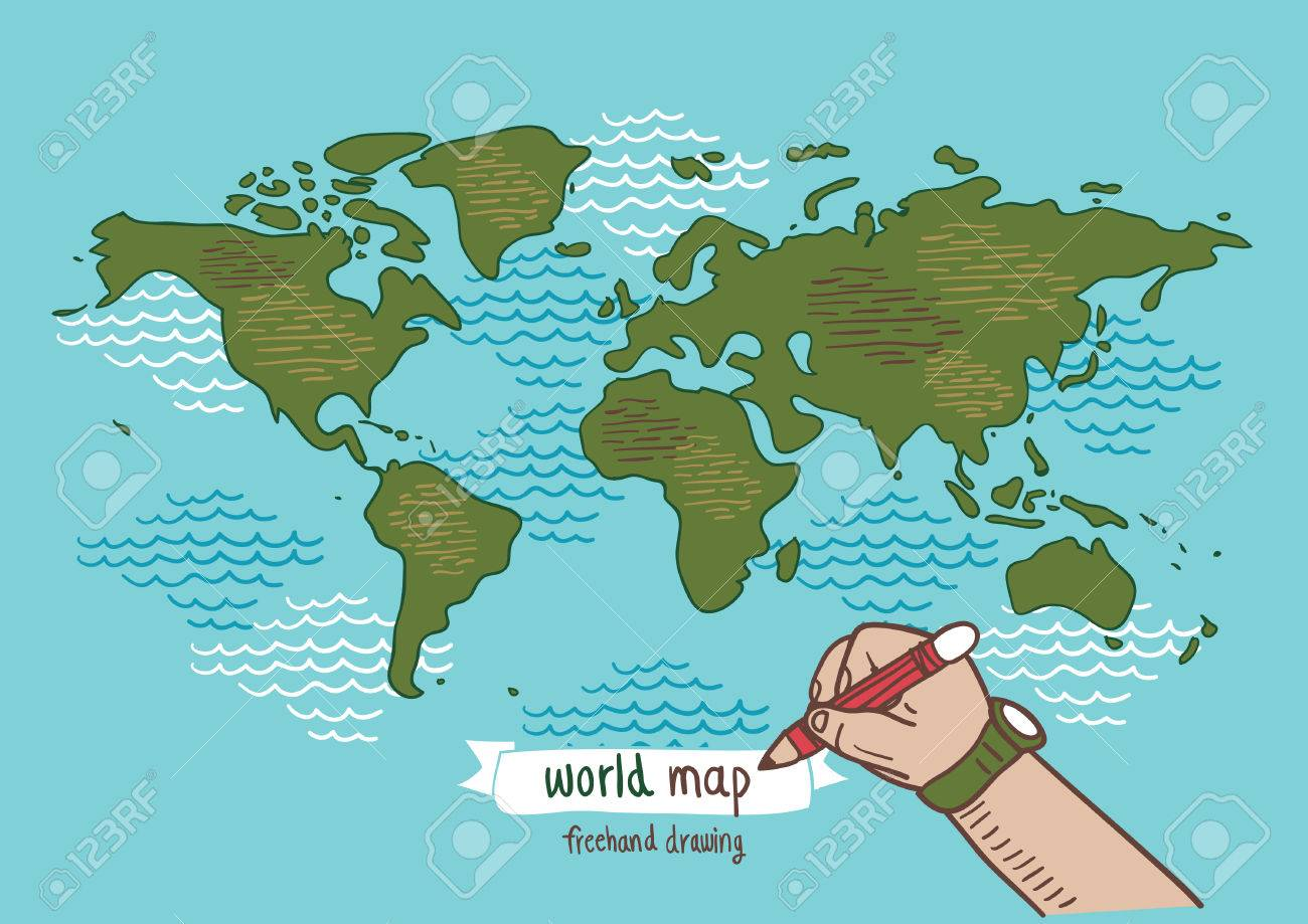 World map sketch vector freehand drawing royalty free cliparts vector world map sketch vector freehand drawing gumiabroncs Image collections