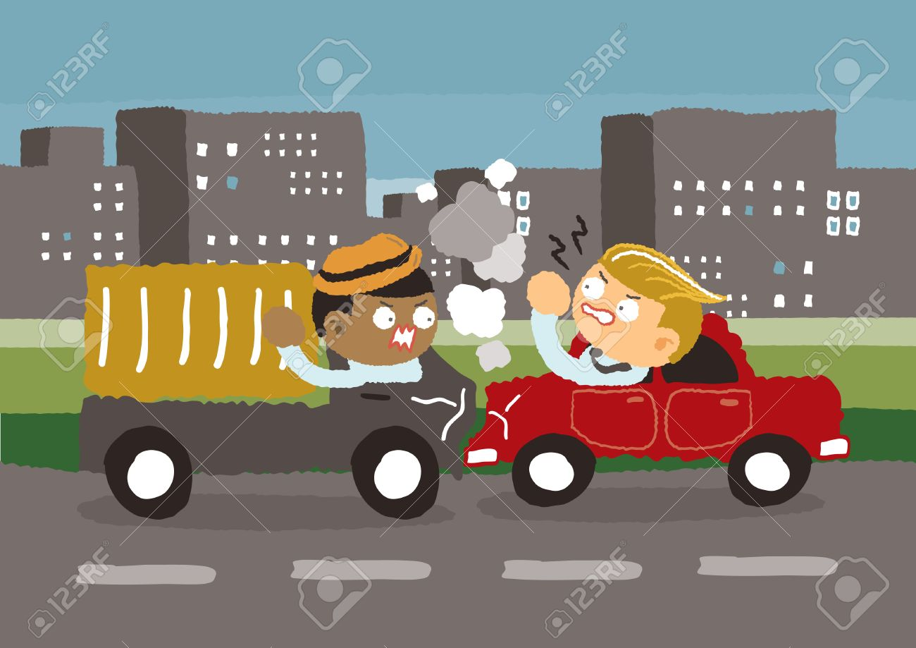 Car Crash In The City - Freehand Drawing Vector Illustration Royalty ...