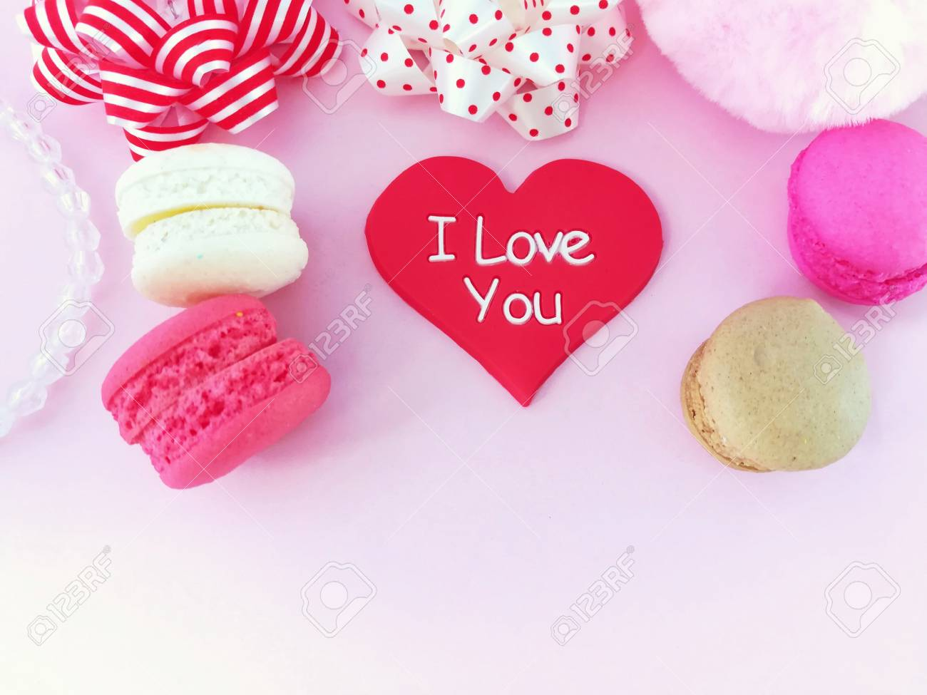 Decoration Beautiful Wallpaper With Delicious Macaron Red Heart