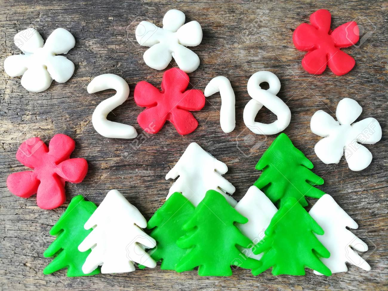 Beautiful Christmas Tree With Flowers And Number Year 2018 Made