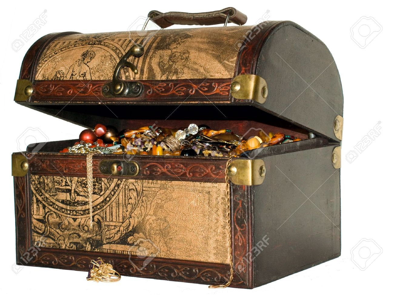 a wooden treasure chest filled with loot stock photo
