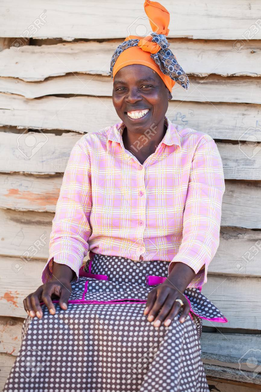 An African woman outside of her home Stock Photo - 15328274