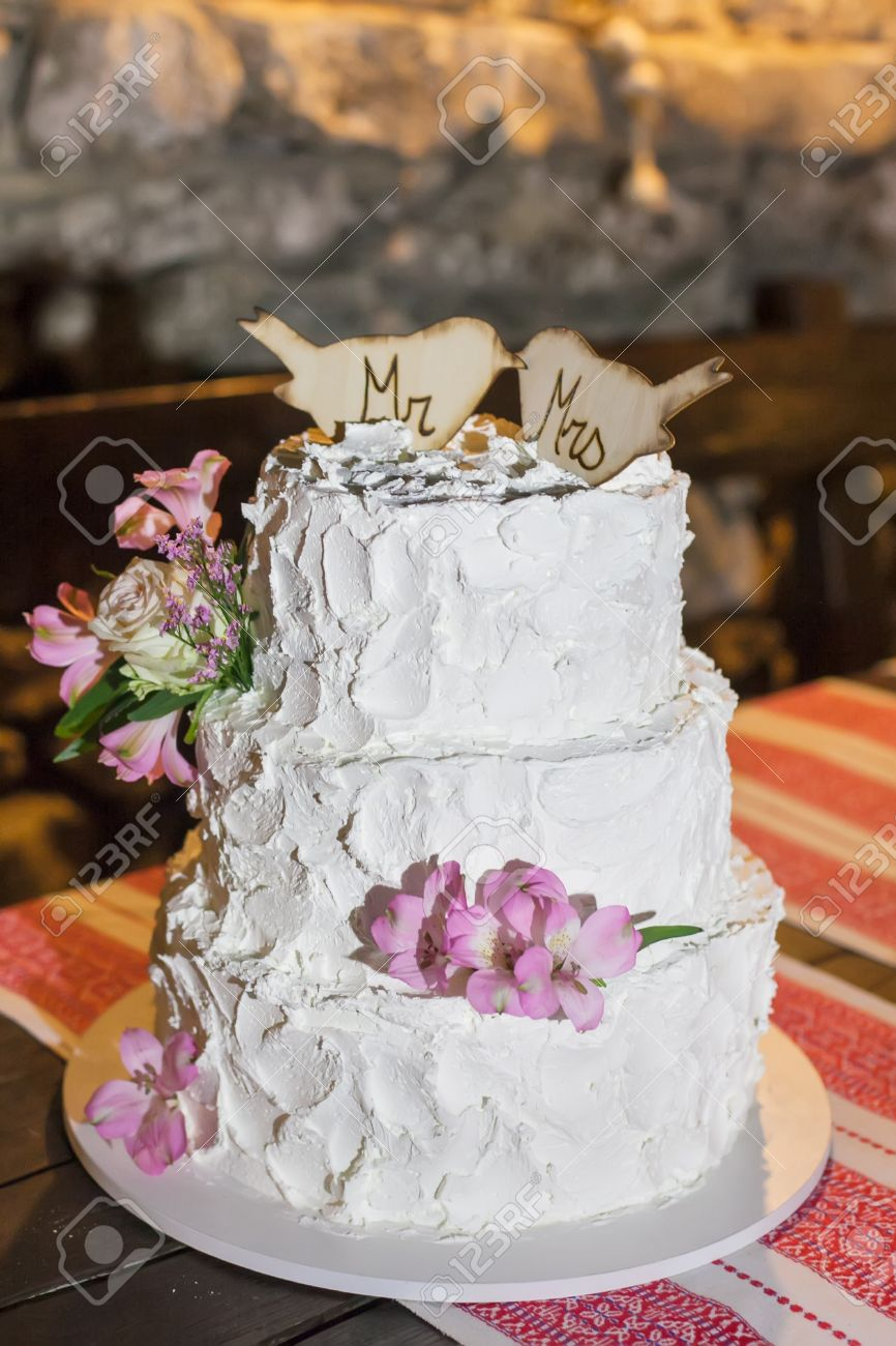 The Couple Decided On A Three Layer Wedding Cake. Stock Photo ...