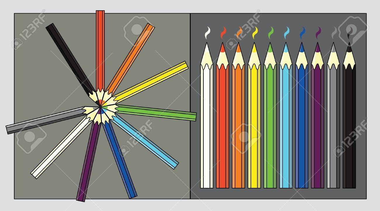 Row and circle composition of color pencils Stock Vector - 8421651