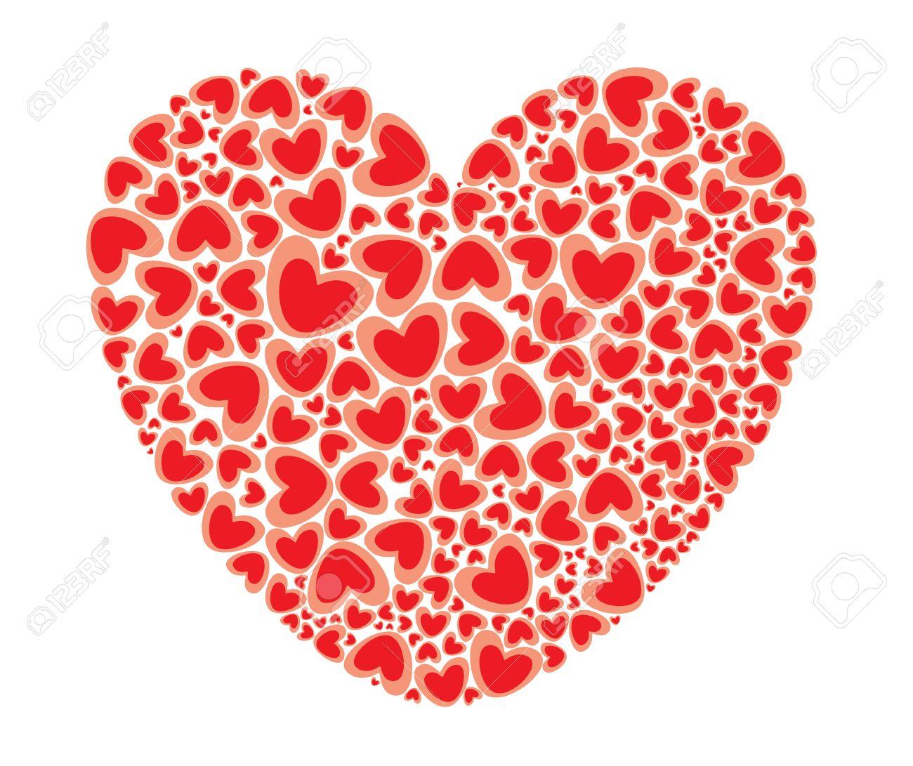 St. Valentines Großes Herz Mit Herzen Muster Gefüllt Lizenzfrei ...