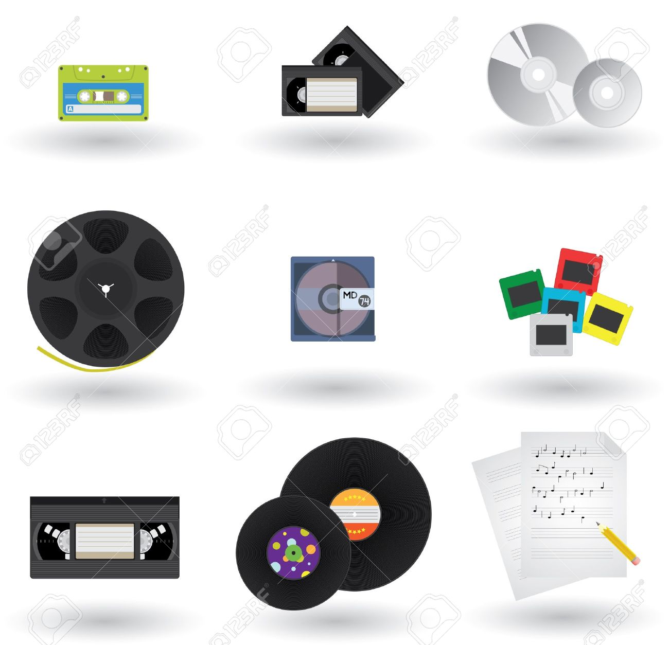 Icons Set of Different Media Formats And Types - 9719401