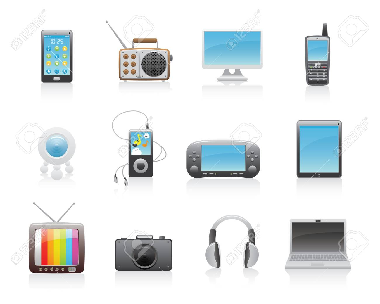 Glossy Media Icons Set Stock Vector - 13122430