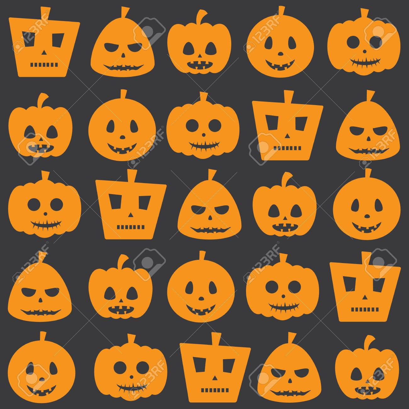 Seamless Halloween Holiday Scary Pumpkin Pattern Background Royalty ...