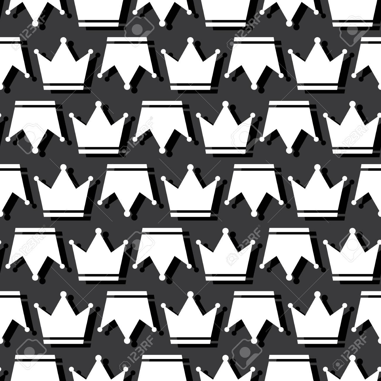 Crown Prince And Pincess Royal Symbol Seamless Pattern Dark