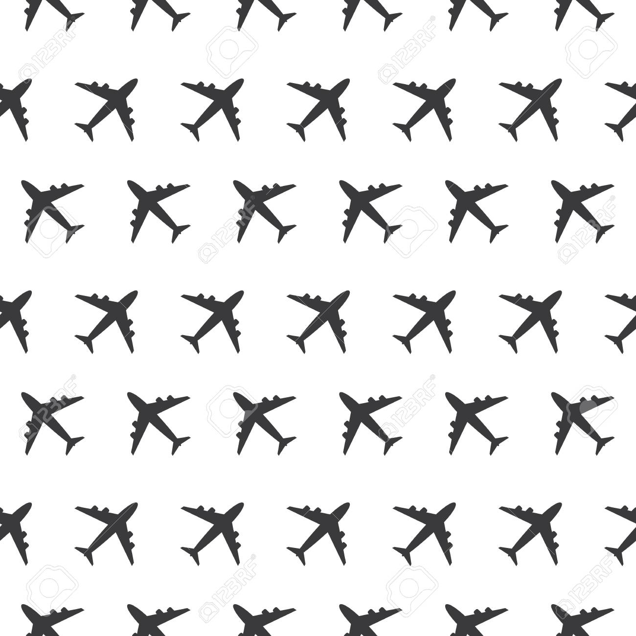 Airplane Commercial Aviation Seamless Sign Clear Pattern Silhouette