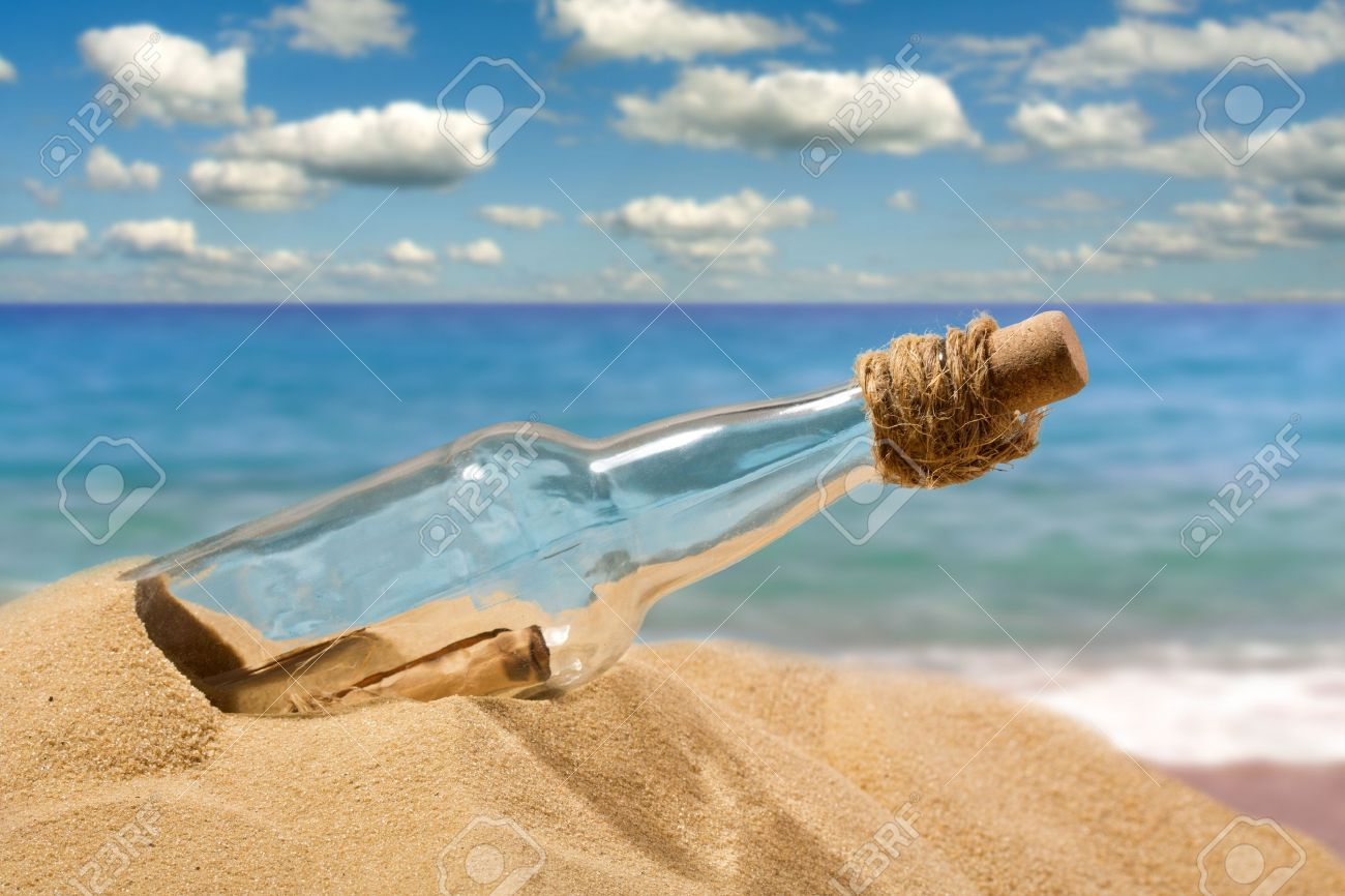 Message in a bottle on the beach - 18104528