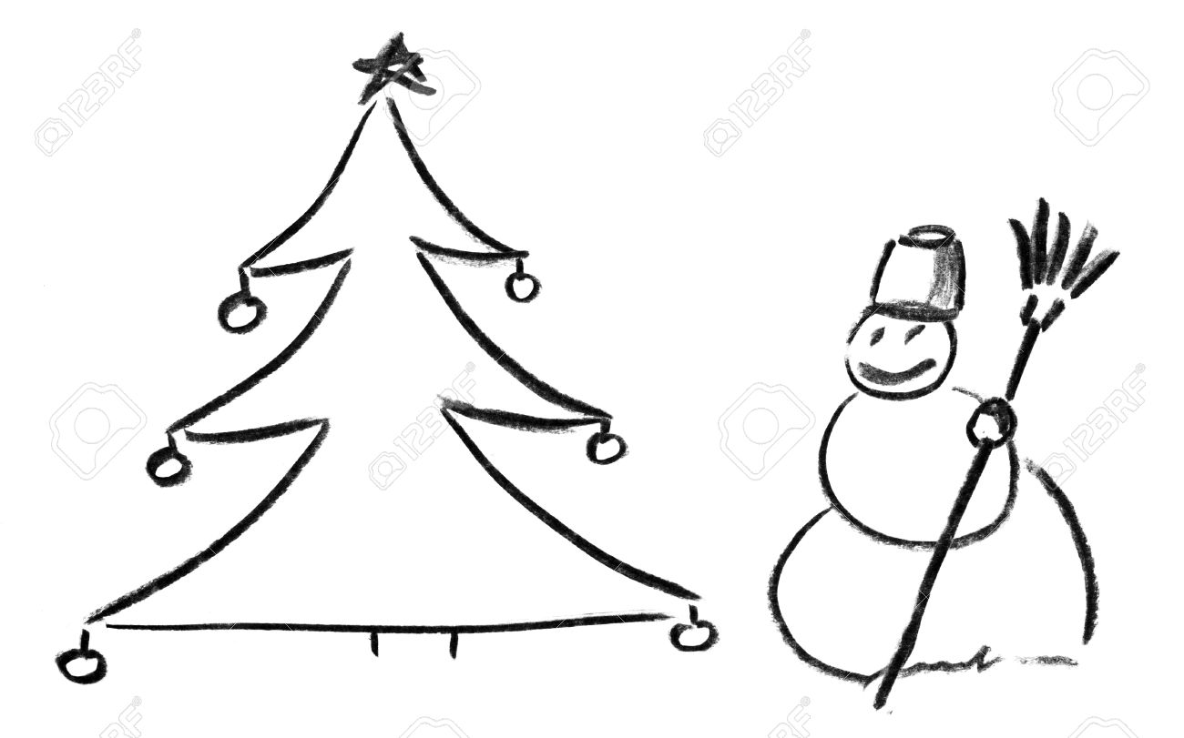 Pencil sketch of christmas tree with ornaments and snowman stock photo 18103043