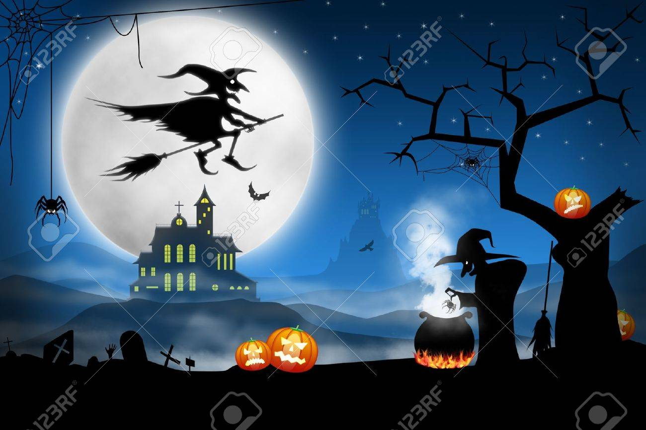 Halloween Spooky.Spooky Halloween Night Witches Cooking Bat Soup On Foggy Cemetery