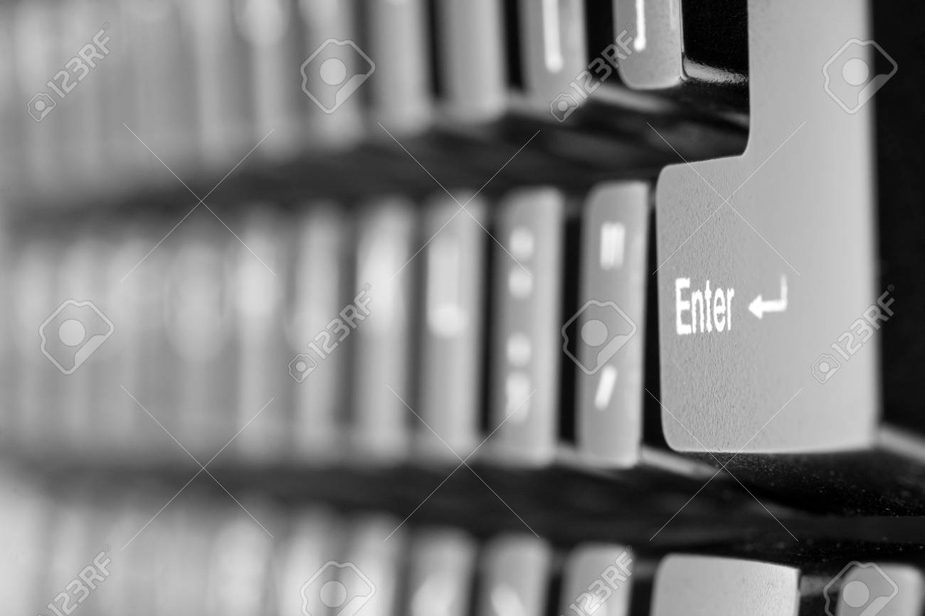 Close-up of computer keyboard. Perspective view on &quot,enter&quot, key Stock Photo - 18192313
