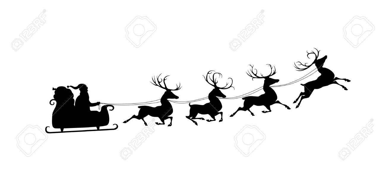 Goede Silhouet Van Kerstman In Slee En Zijn Rendieren. Geà ¯ Soleerd ND-57