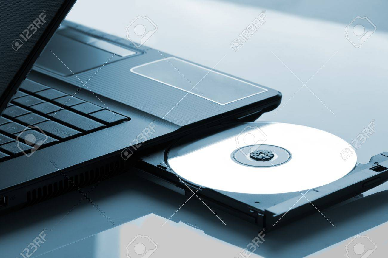 laptop with open cd dvd drive stock photo picture and royalty