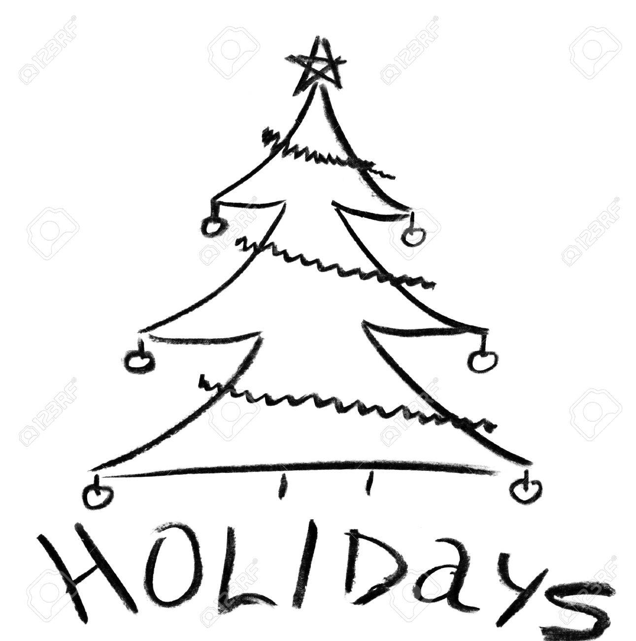 Pencil sketch of christmas tree with ornaments stock photo 18430521