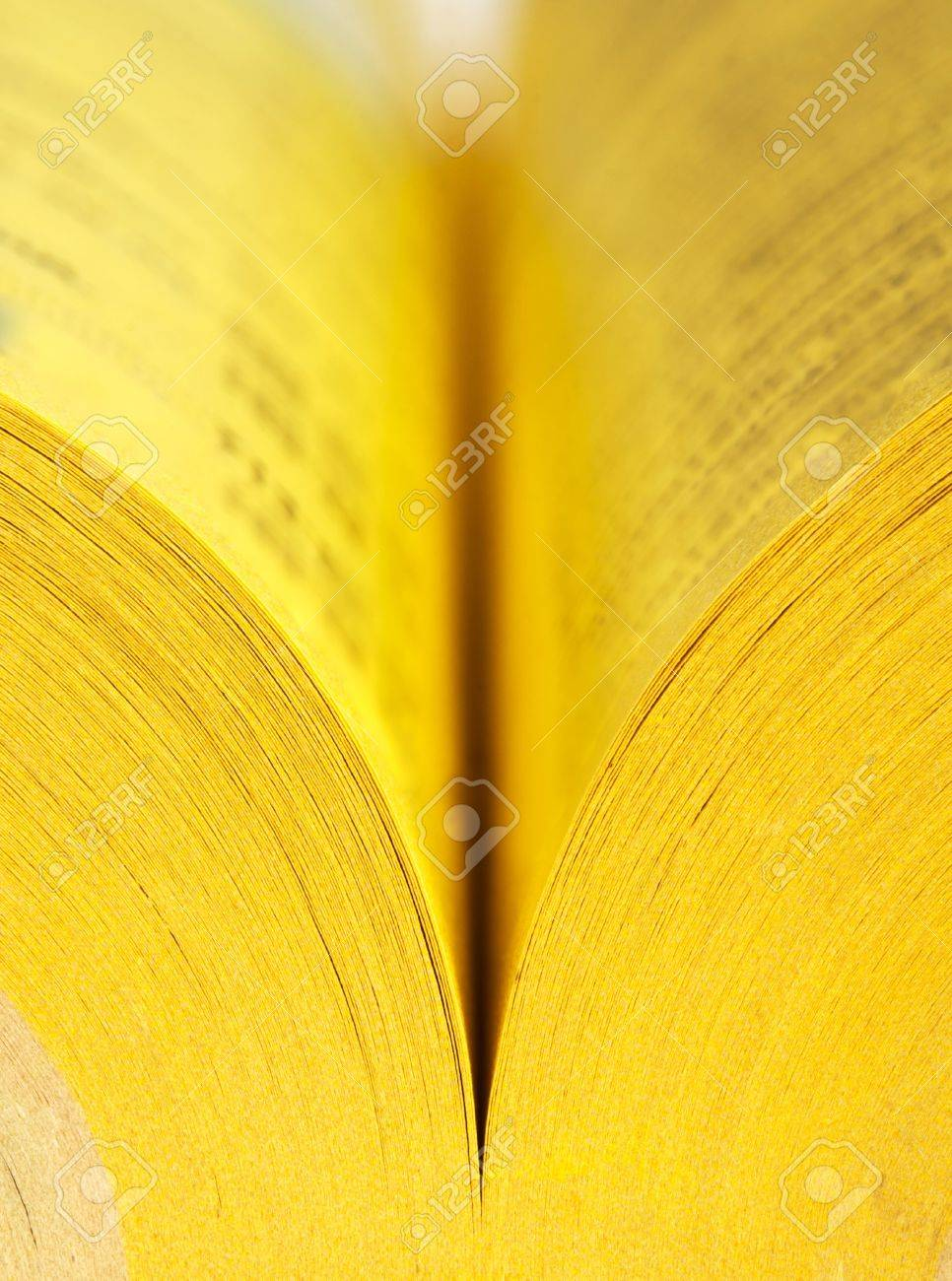 Close Up View Of Open Yellow Pages Book Stock Photo Picture And