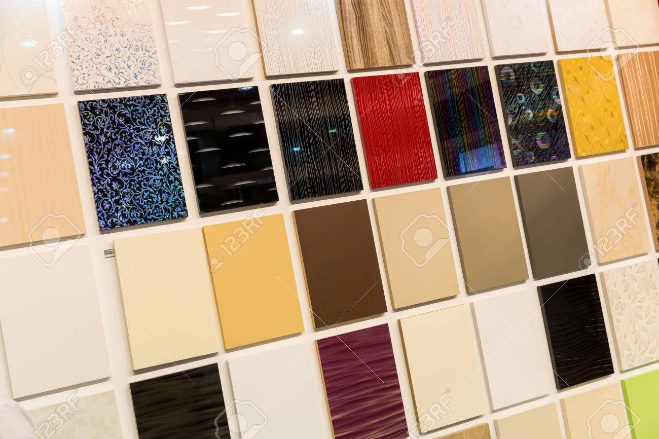 Samples Of A Ceramic Tile In Shop On The Wall Stock Photo, Picture ...