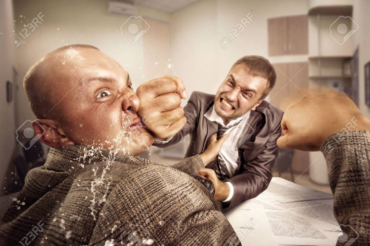 Two furious businessmen are fighting in the office - 29986828