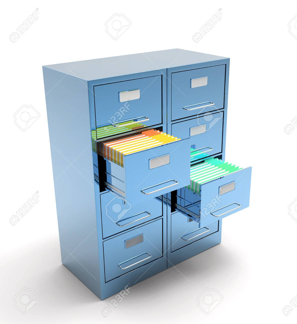 Double File Cabinet Isolated On White Background Stock Photo   34138603