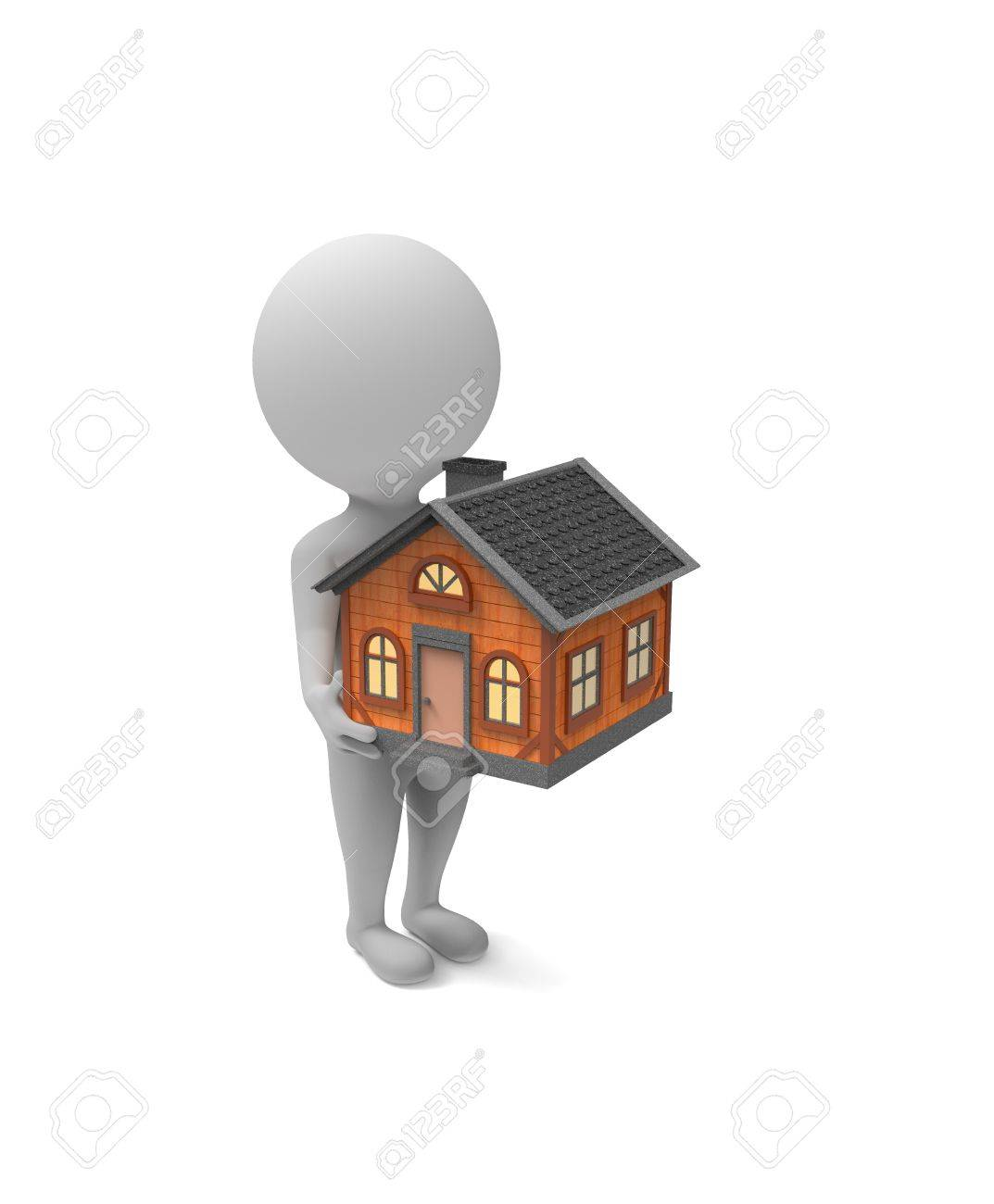 3d Little White Man Holds A House In His Hands On White Background Stock  Photo