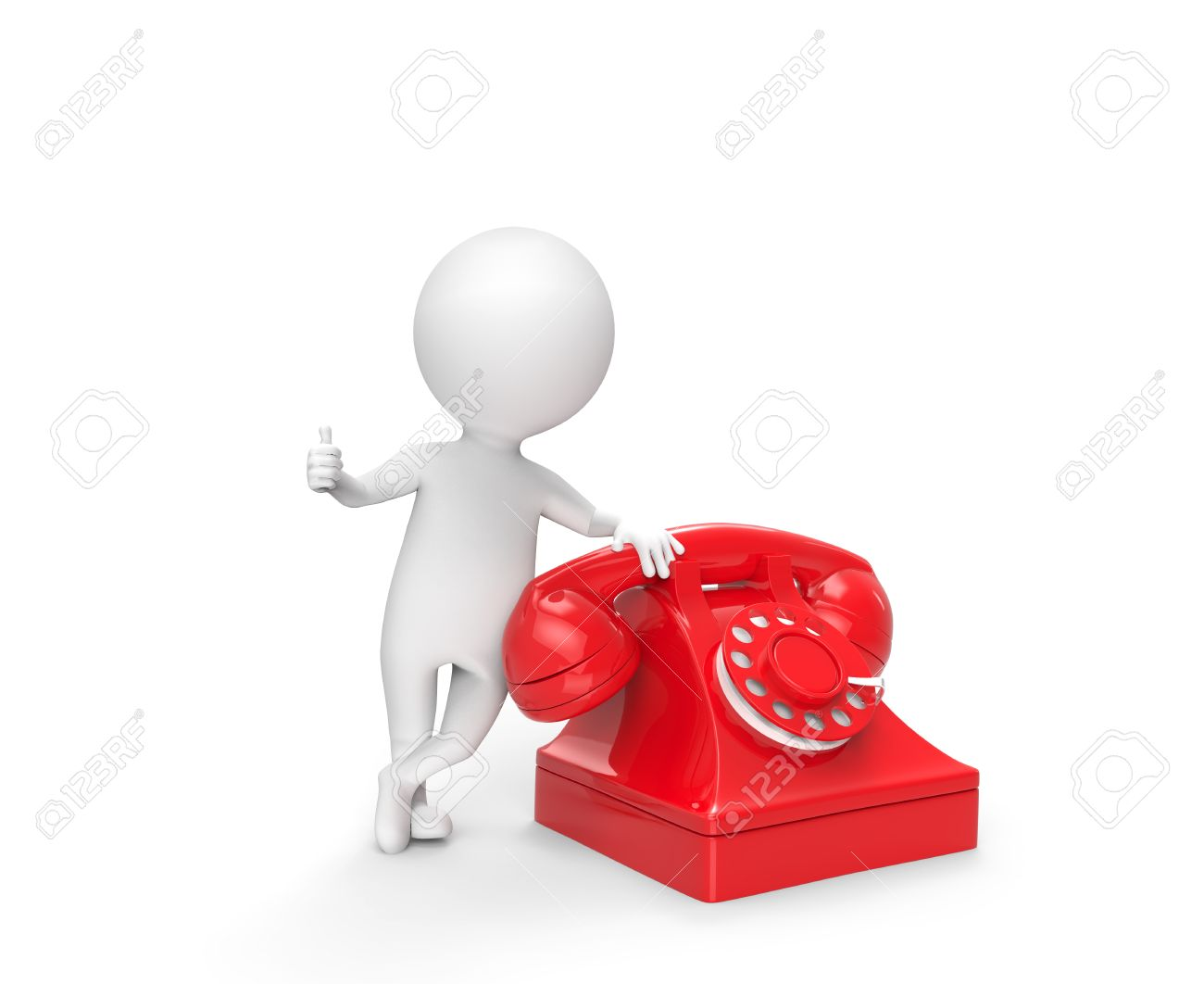 telephone interview stock photos images royalty telephone telephone interview 3d little white man stand leaning on the phone on white background stock