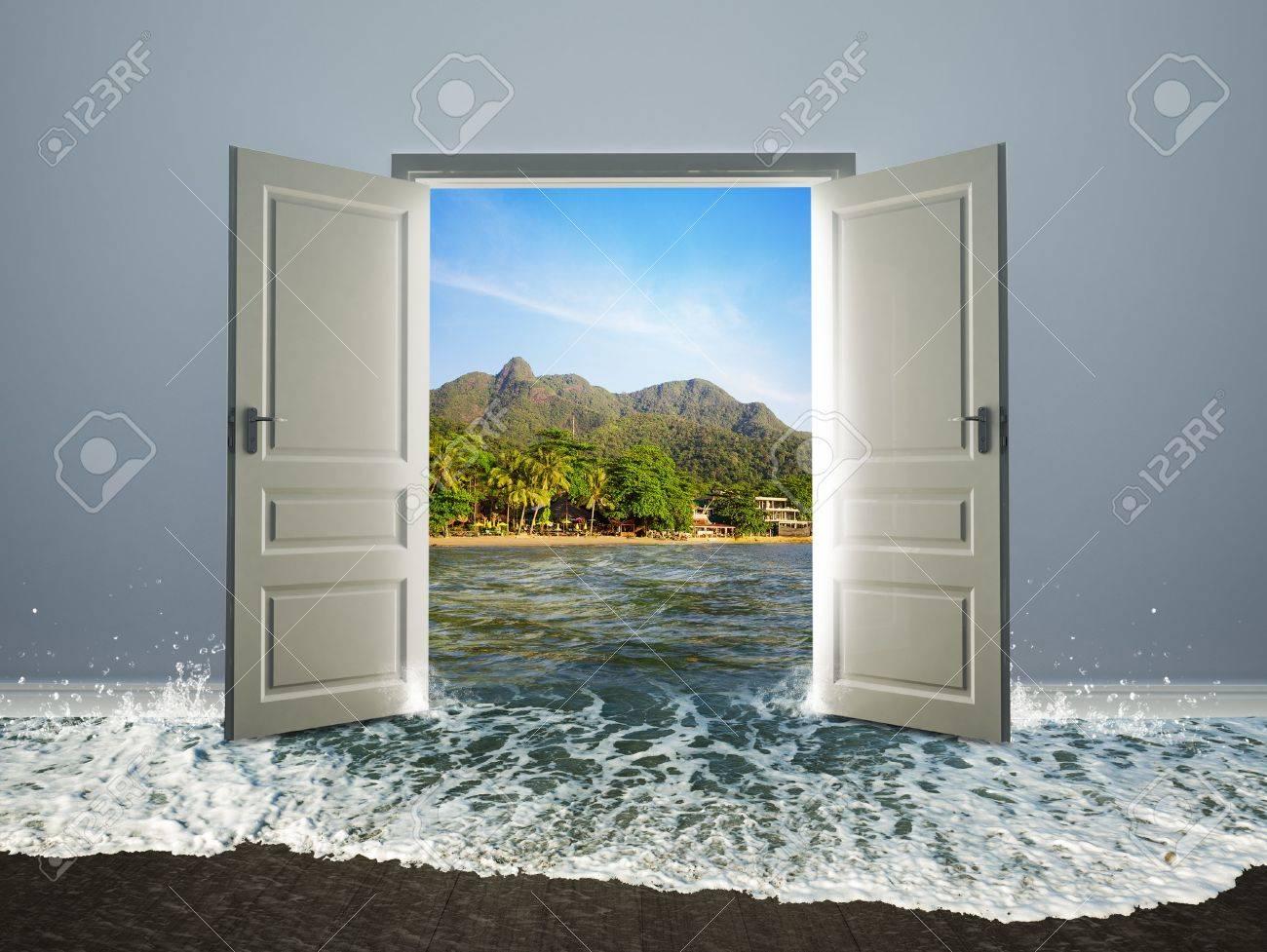 White door open to the beach Stock Photo - 34924004 & White Door Open To The Beach Stock Photo Picture And Royalty Free ...