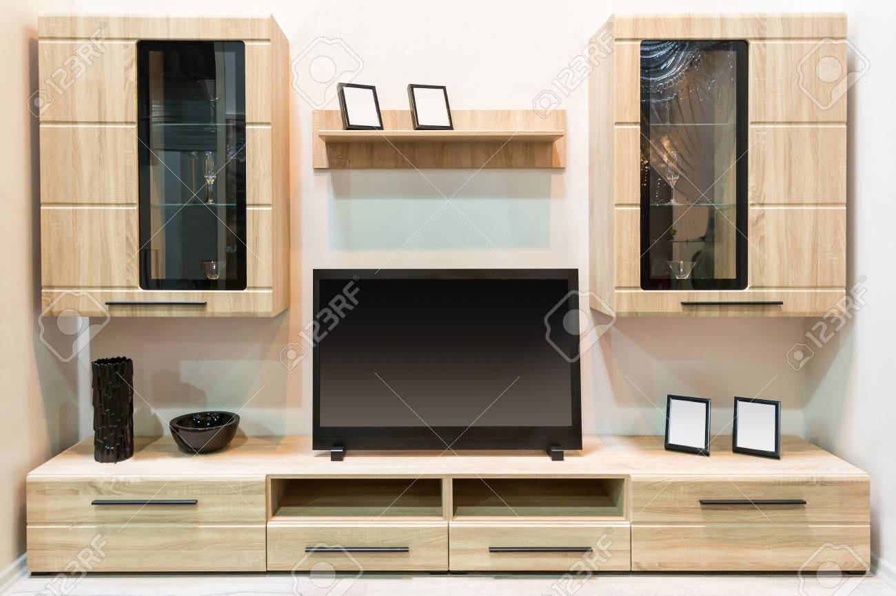 Modern Wooden Furniture With Tv Set Stock Photo, Picture And Royalty