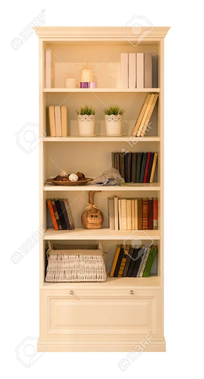 Houten Kast Voor Boeken Geïsoleerd Op Wit