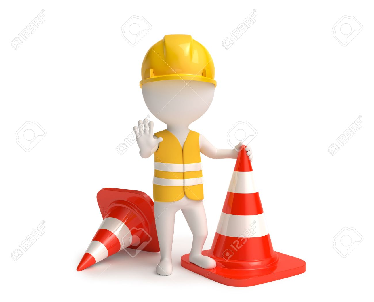 White little worker in helmet with red traffic-cones Stock Photo - 41621332