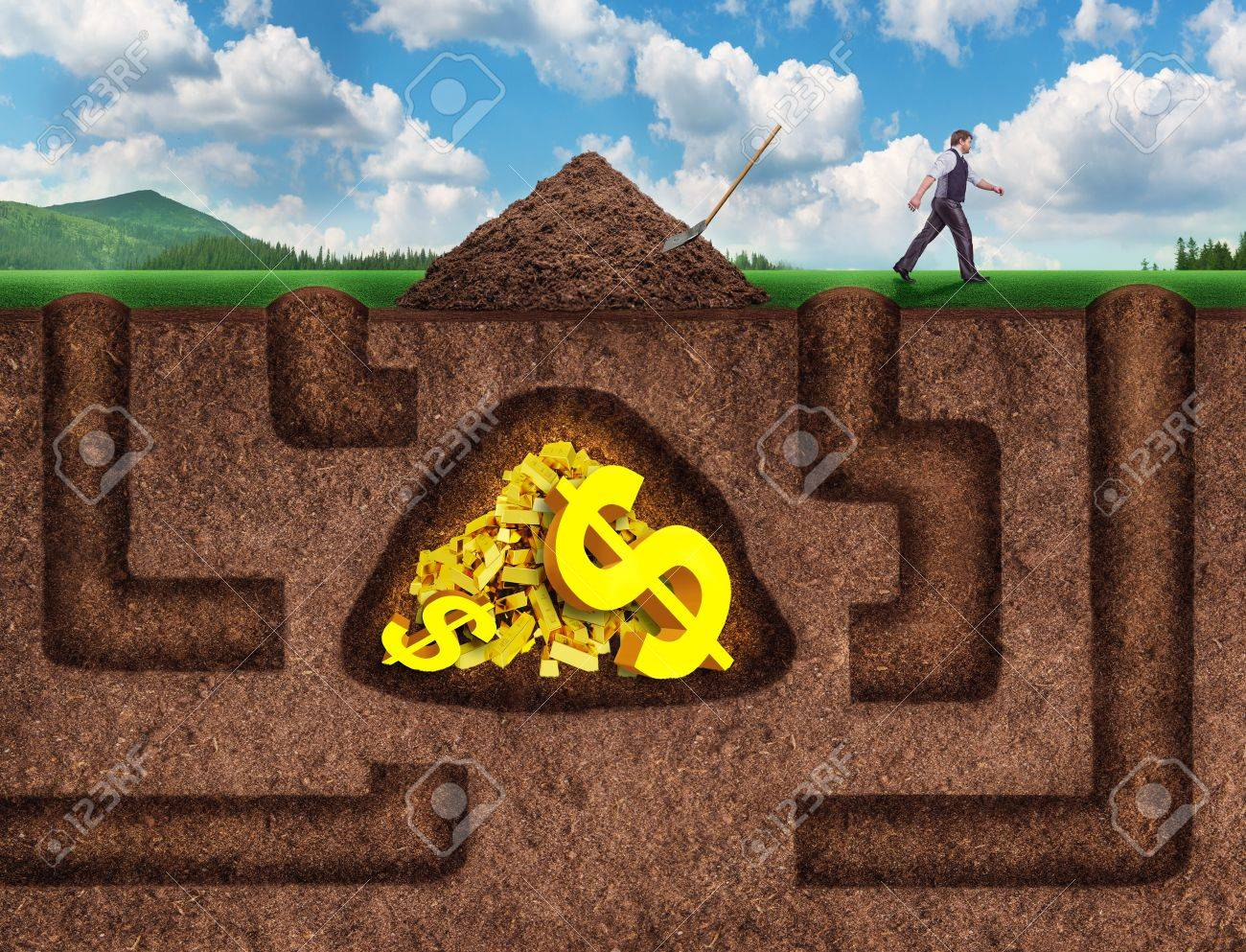 Businessman made many tunnels to get treasure underground, he gave up and went away - 42119219