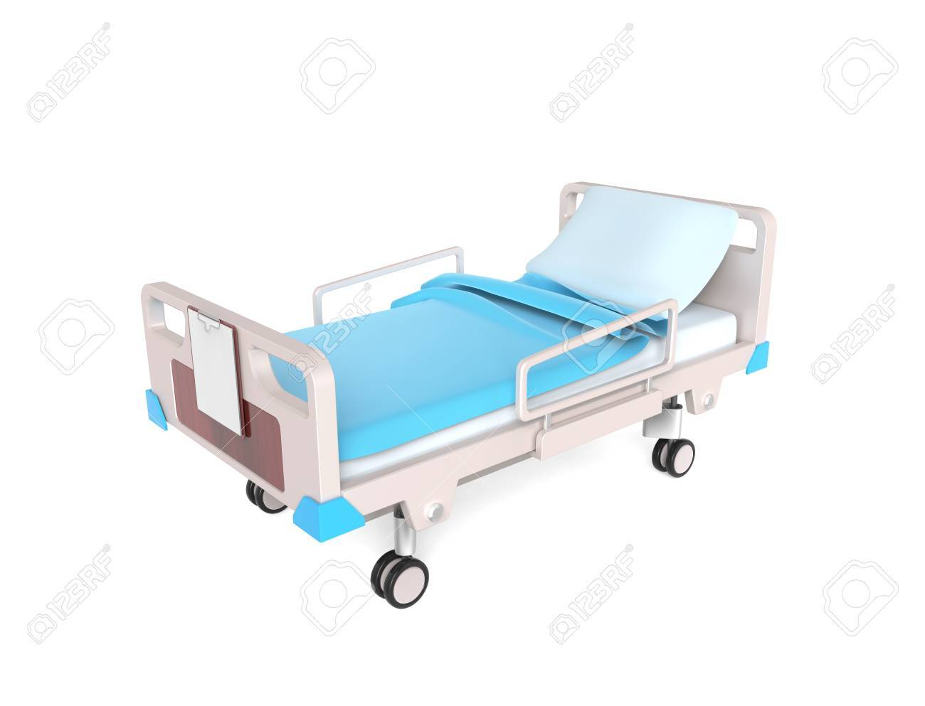 3D little medical bed isolated on white - 43236442