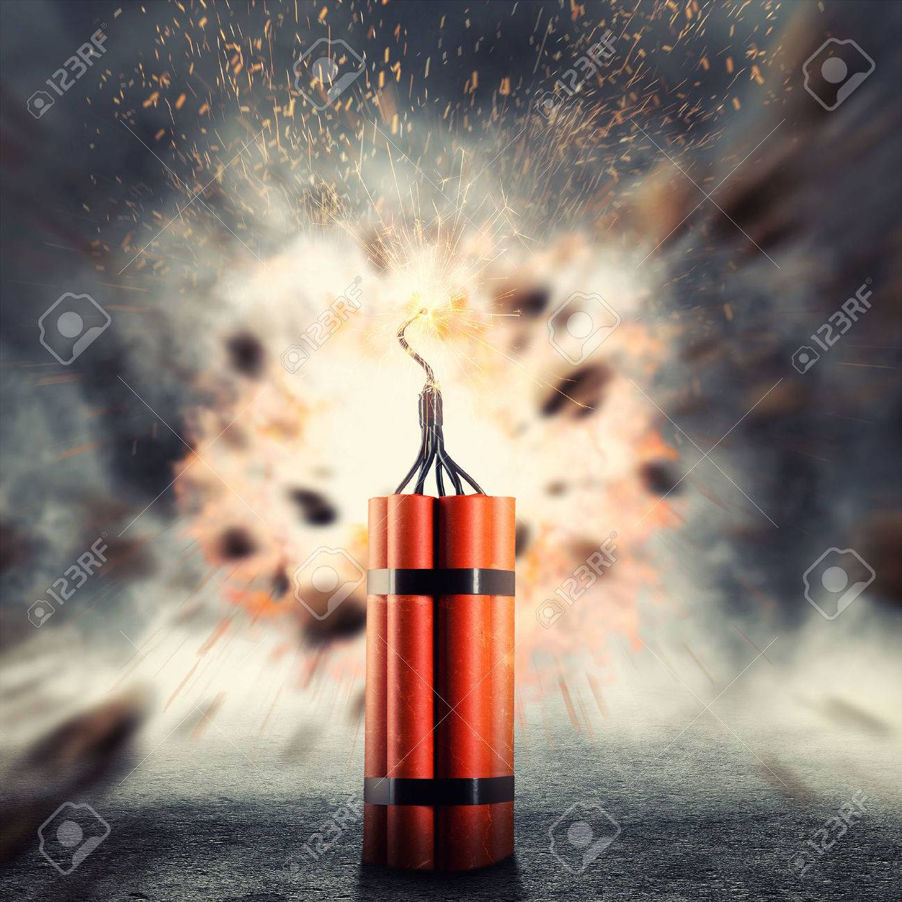 Dangerous dynamite exploding against abstract background - 46391421