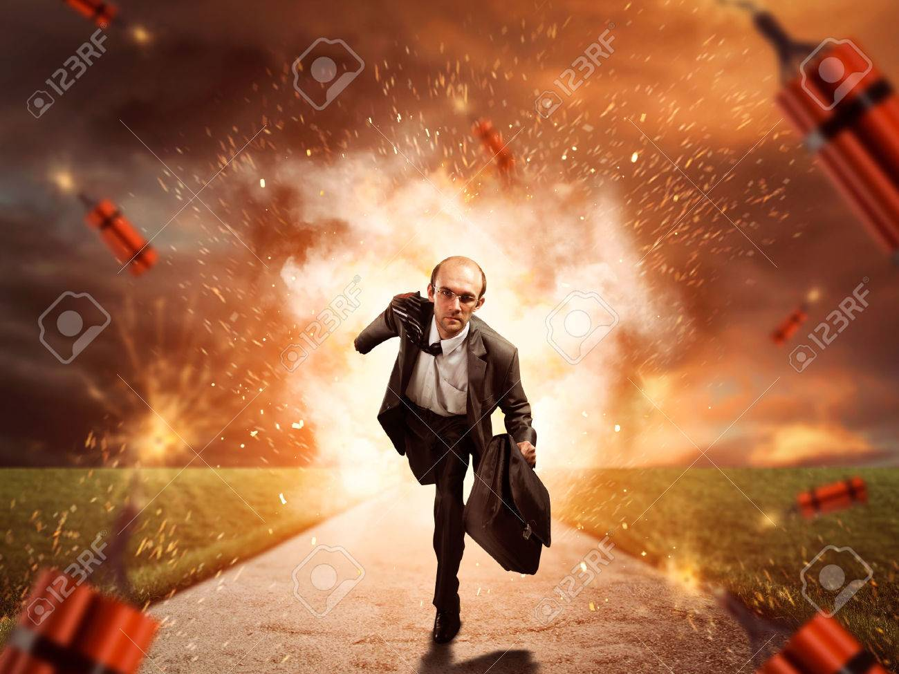 Businessman is running from dynamite exploding on the road - 46391543